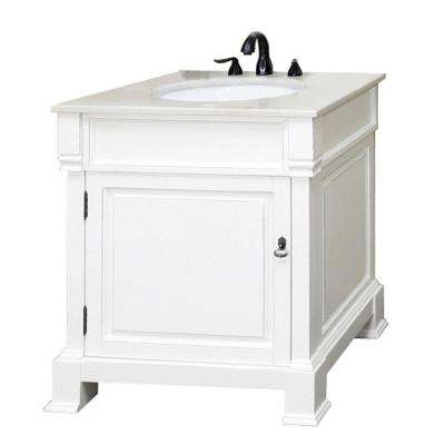 Olivia 30 in. W x 35-1/2 in. H Single Vanity in White with Marble Vanity Top in White