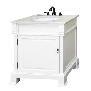 Bellaterra Home Olivia 30 inch W x 35-1/2 inch H Single Vanity in White with Marble Vanity... by Bellaterra Home