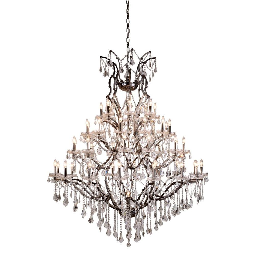 Elegant Lighting Elena 49-Light Raw Steel Royal Cut Crystal Clear Pendant