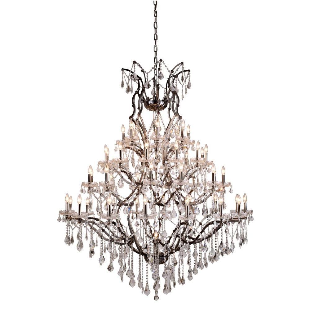 Elena 49-Light Raw Steel Royal Cut Crystal Clear Pendant