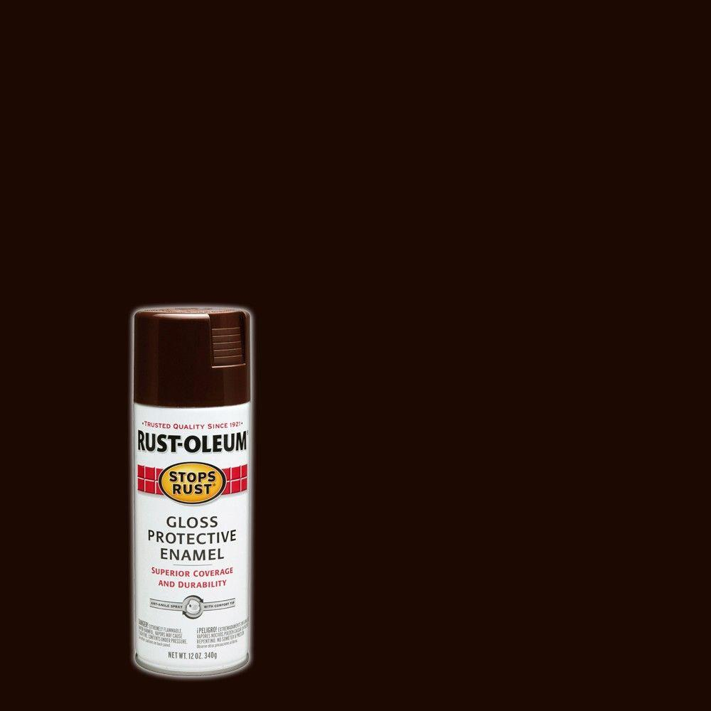 Rust-Oleum Stops Rust 12 oz. Protective Enamel Gloss Kona Brown Spray