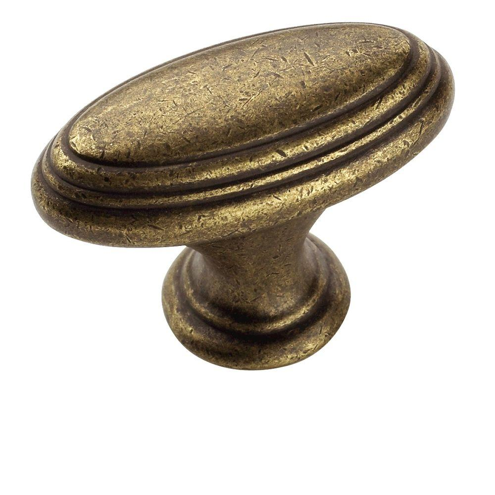 Mulholland 1-7/16 in. Rustic Brass Cabinet Knob