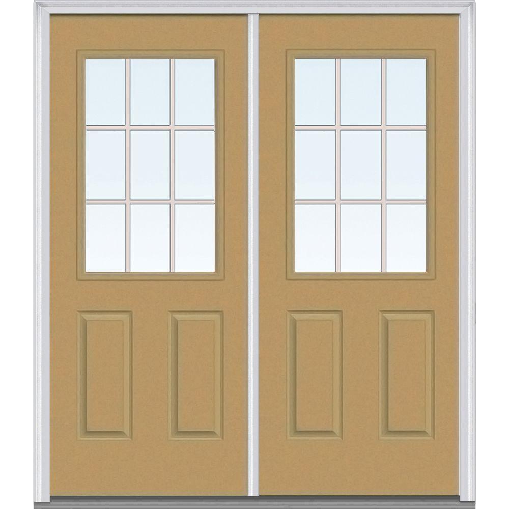 Mmi door 72 in x 80 in tan internal grilles right hand for 72 x 80 exterior door