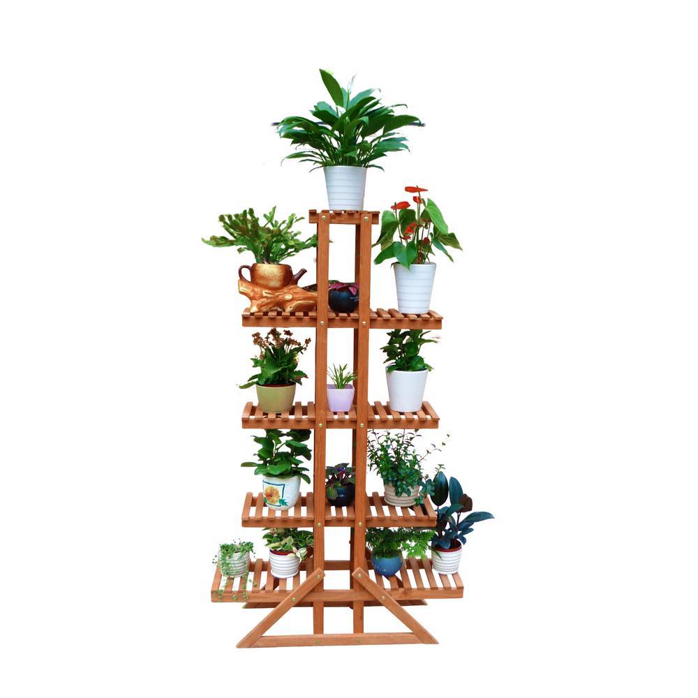 33 in. W x 11 in. D x 57 in. H Brown Wooden 5-Tier Indoor Outdoor Plant Stand