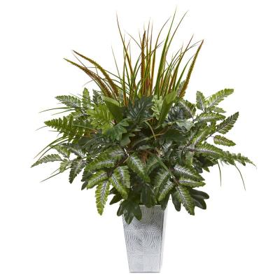 25 in. Mix Greens Artificial Plant in Planter