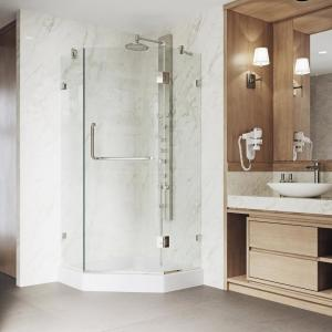 Piedmont 36.125 in. x 78.75 in. Frameless Neo-Angle Shower Enclosure in Brushed Nickel with Base in White