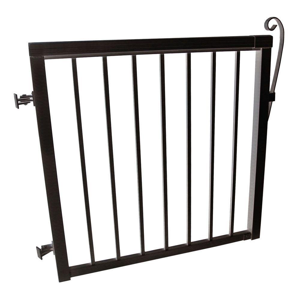 42 in. x 40 in. Black Aluminum Picket Gate