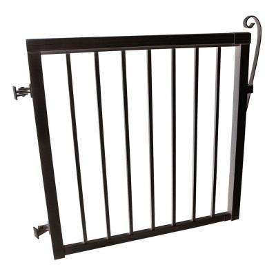 3-5/6 ft. x 3-1/3 ft. Black Aluminum Single Walk Through Picket Gate