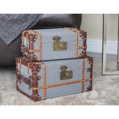 Globetrotter Wood Fabric Boxes with Brown Leather Accents (Set of 2)