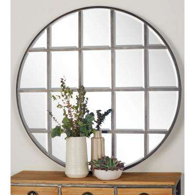 48 in. Round Silver Decorative Wall Mirror with Grid-Inspired Panels