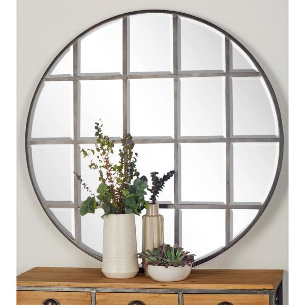 Litton Lane 48 in. Round Silver Decorative Wall Mirror ...