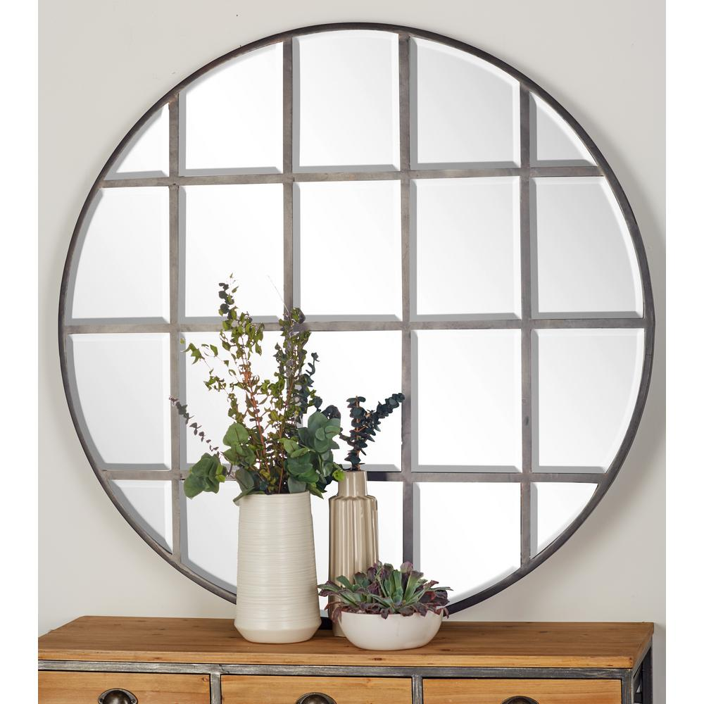 Round Silver Decorative Wall Mirror With Grid Inspired Panels