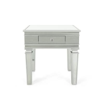 Garibaldi Modern Mirrored Accent Table with Silver Fir Wood Frame