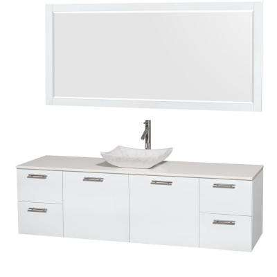 Amare 72 in. Vanity in Glossy White with Solid-Surface Vanity Top in White, Carrara Marble Sink and 70 in. Mirror