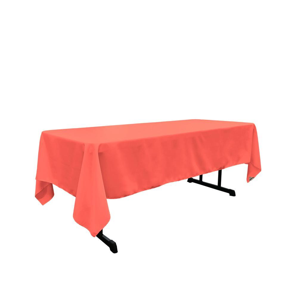 Genial LA Linen Polyester Poplin 60 In. X 144 In. Coral Rectangular Tablecloth