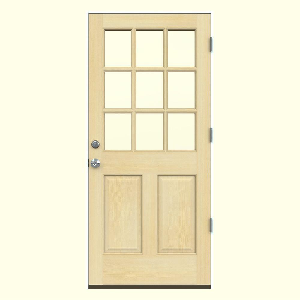 Jeld wen 30 in x 80 in 9 lite unfinished wood prehung for 9 lite wood exterior door