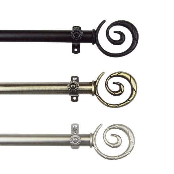 28 in. - 48 in. Telescoping Single Curtain Rod Kit in Satin Nickel with Spiral Finial