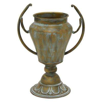 8 in. Gold Metal Trophy Decorative Vase