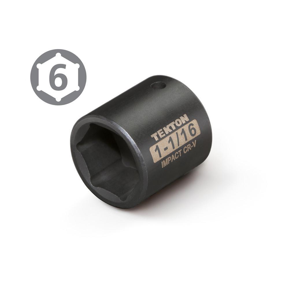 Cr-V 6-Point TEKTON 47761 1//2-Inch Drive by 1-1//8-Inch Shallow Impact Socket