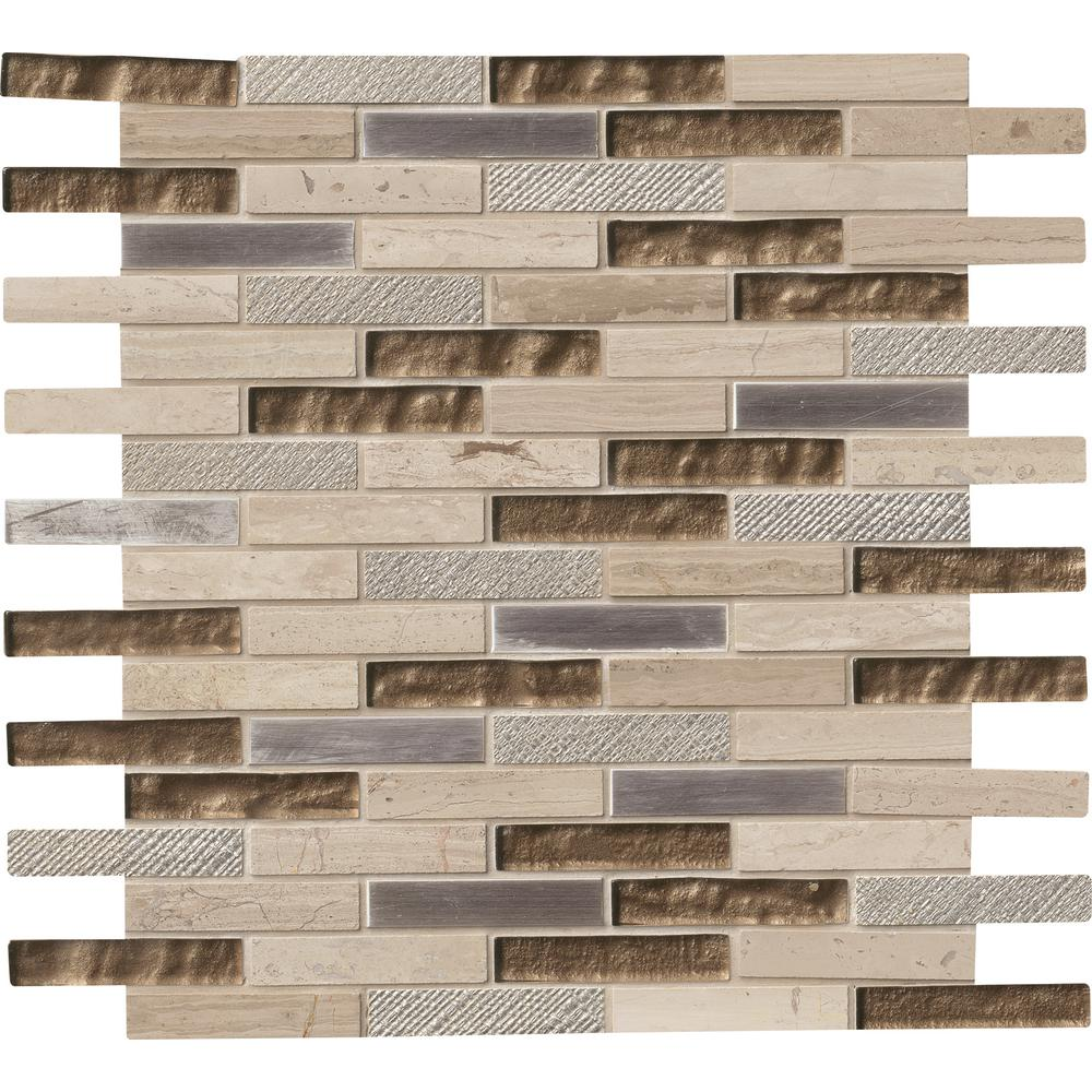 MS International Diamante Brick 12 in. x 12 in. x 8 mm Glass/Stone Mesh-Mounted Mosaic Wall Tile (10 sq. ft. / case)