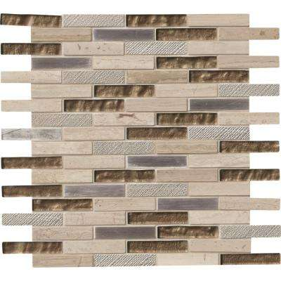 Diamante Brick 12 in. x 12 in. x 8 mm Glass/Stone Mesh-Mounted Mosaic Wall Tile (10 sq. ft. / case)