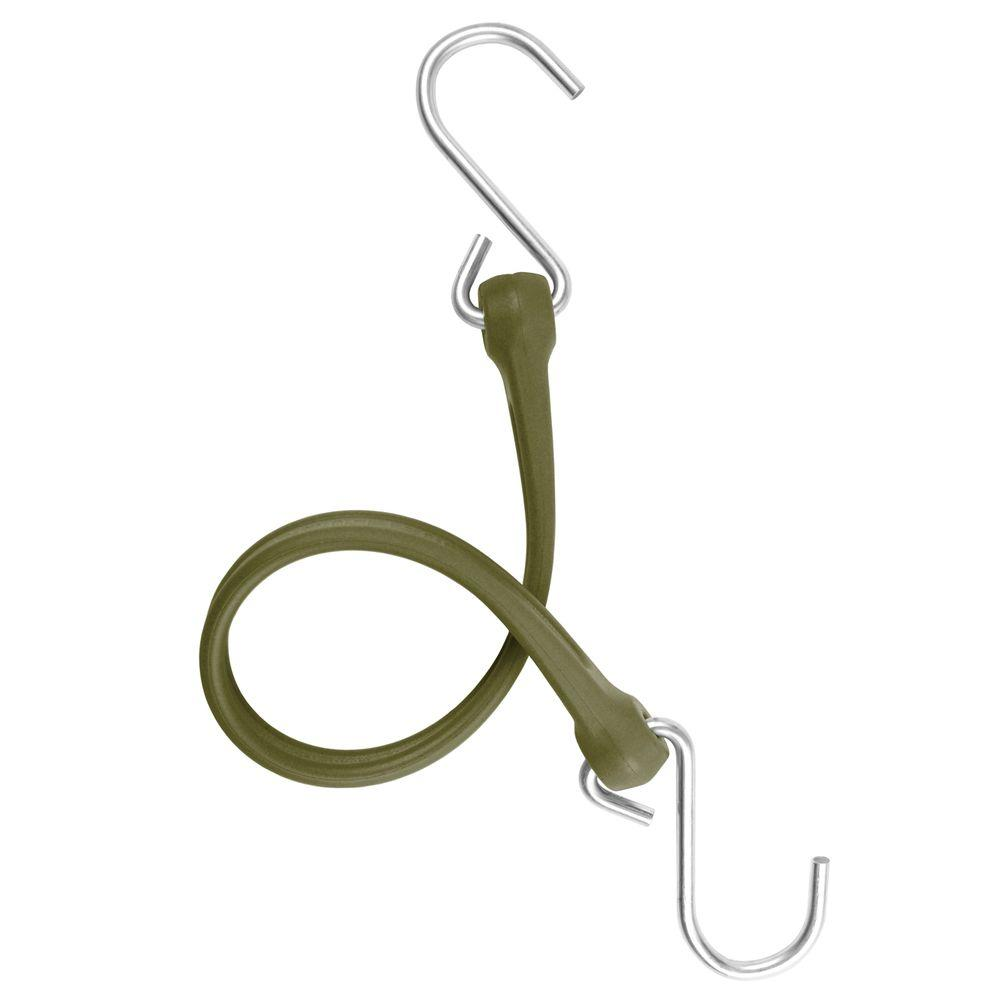 The Perfect Bungee 13 in. EZ-Stretch Polyurethane Bungee Strap with Galvanized S-Hooks (Overall Length: 18 in.) in Military Green