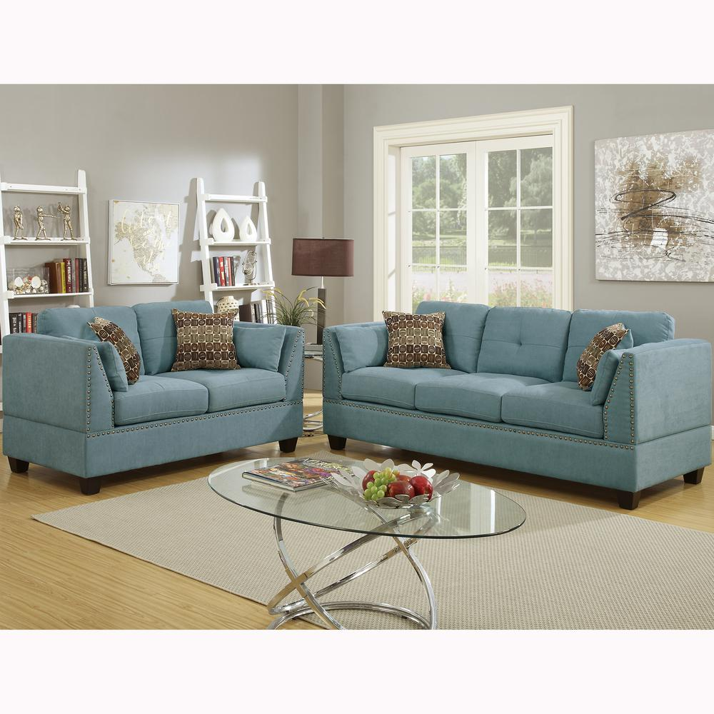 Venetian Worldwide Abruzzo 2 Piece Hydra Blue Velvet Sofa Set