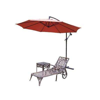 Mississippi Cast Aluminum 2-Piece Patio Chaise Lounge Set with Cantilever Umbrella