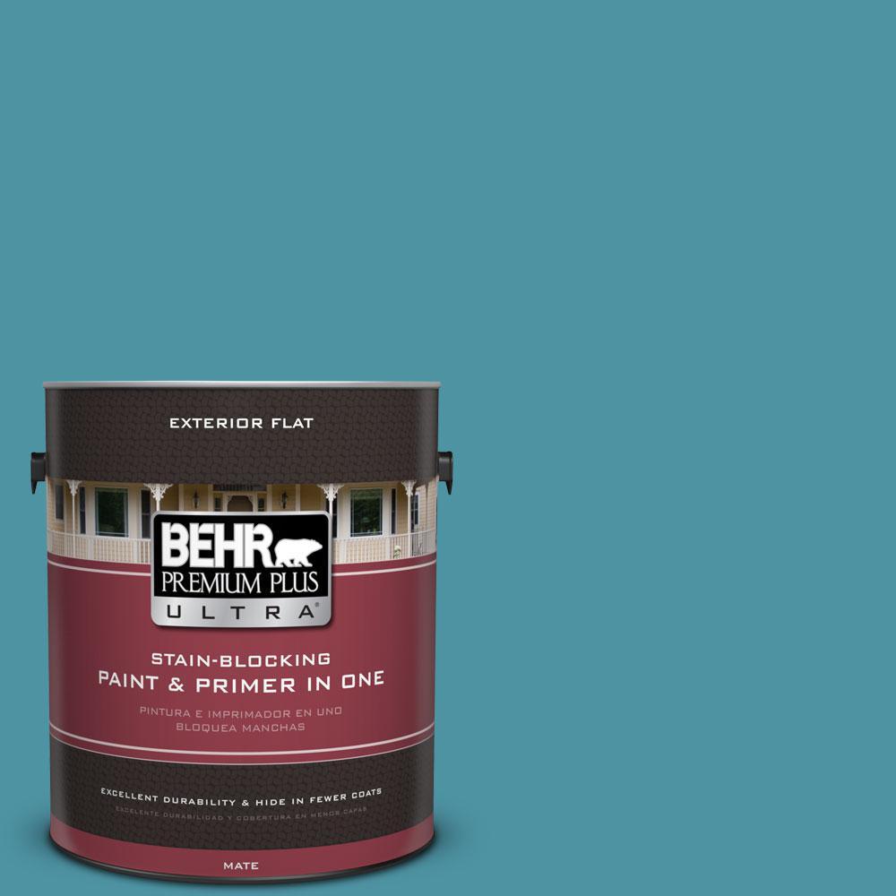 1 gal. #530D-6 Teal Bayou Flat Exterior Paint