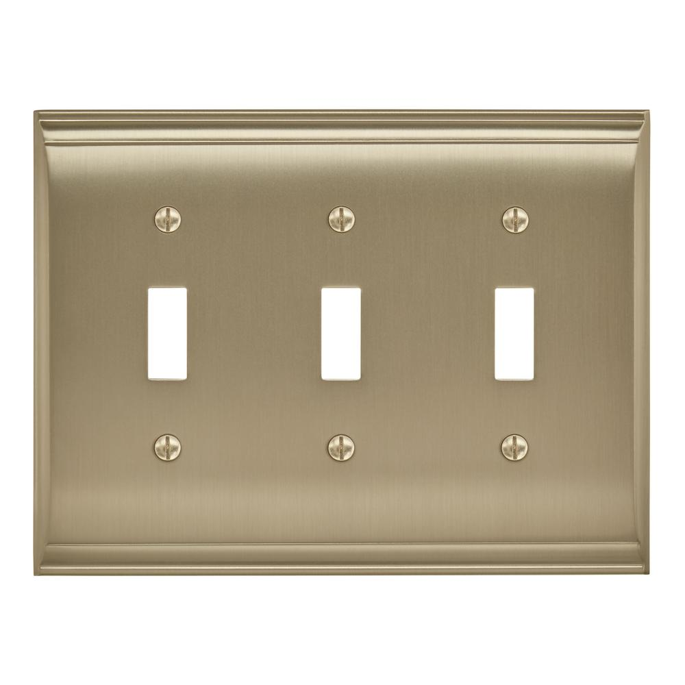 Amerelle English Rose 3 Toggle Wall Plate Antique Nickel 43tttan Light Switch Question Candler Golden Champagne