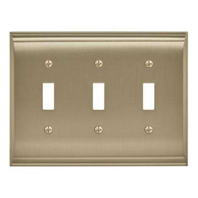 Candler 3 Toggle Golden Champagne Wall Plate