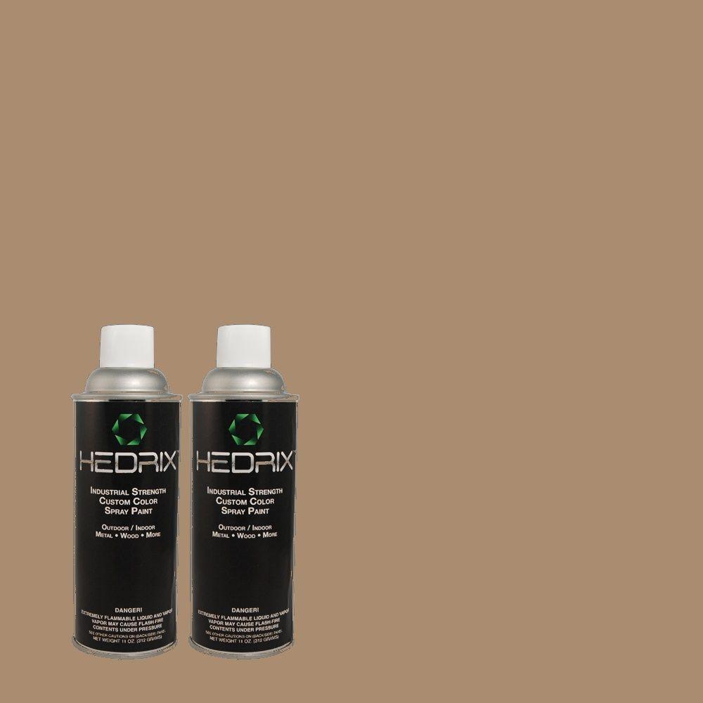 Hedrix 11 oz. Match of PPU5-16 Earthnut Flat Custom Spray Paint (2-Pack)