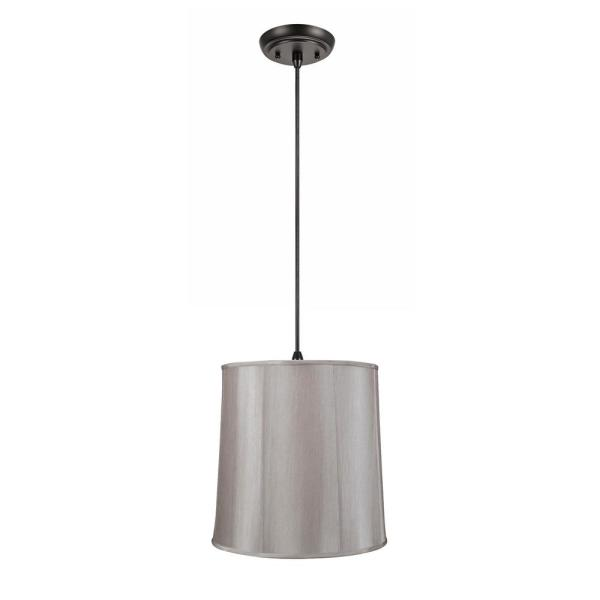 2-Light Oil Rubbed Bronze Pendant with Silver Grey Empire Fabric Shade