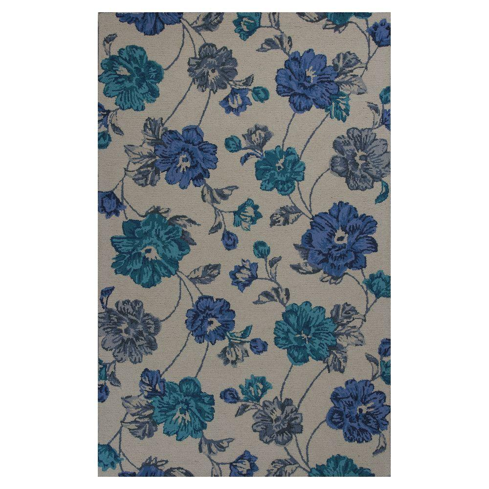 Kas Rugs Floral Bouquet Ivory/Blue 3 ft. 3 in. x 5 ft. 3 in. Area Rug