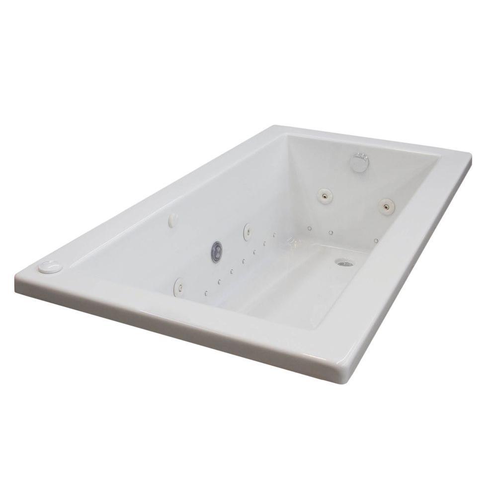 Sapphire Diamond Series 5 ft. Left Drain Rectangular Drop-in Whirlpool and Air Bath Tub in White