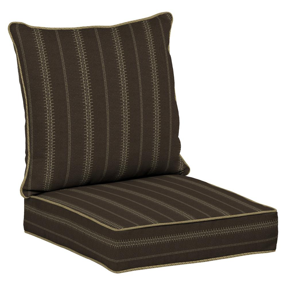 Trevor Stripe Espresso 2-Piece Deep Seating Outdoor Lounge Chair Cushion