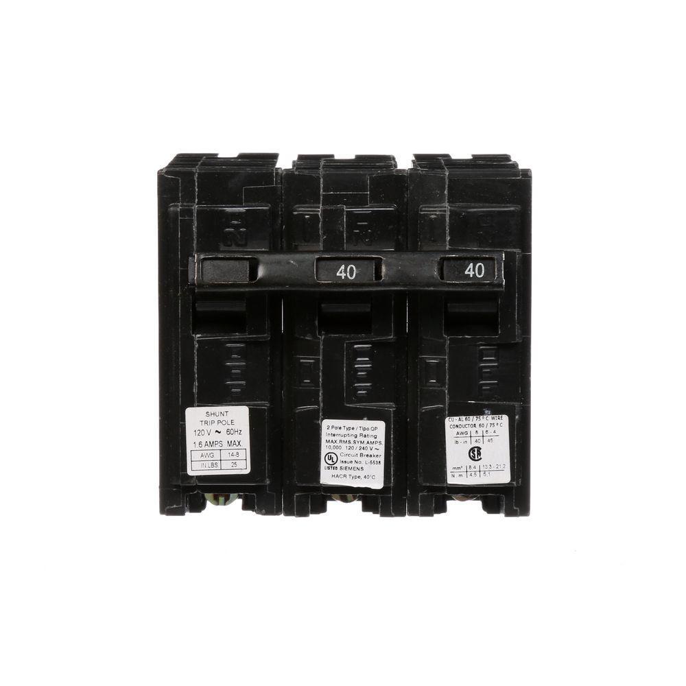 40 Amp Double-Pole Type QP Circuit Breaker with 120-Volt Shunt Trip