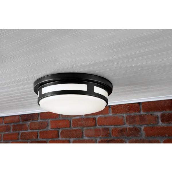 Hampton Bay 11 In 1 Light Round Black Led Indoor Outdoor Flush Mount Porch Ceiling Light 830 Lumens 3 Color Temp Changes Wet Rated 54471201 The Home Depot