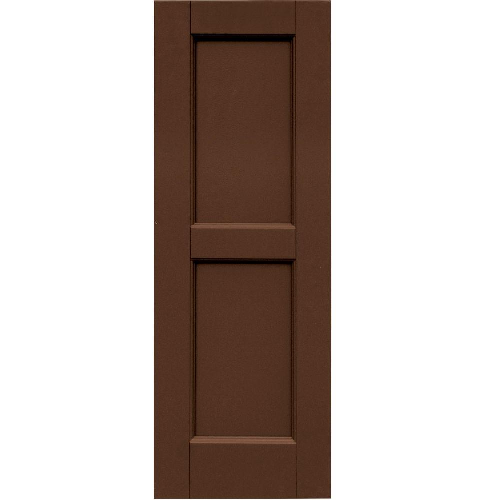 Winworks Wood Composite 12 in. x 34 in. Contemporary Flat Panel Shutters Pair #635 Federal Brown