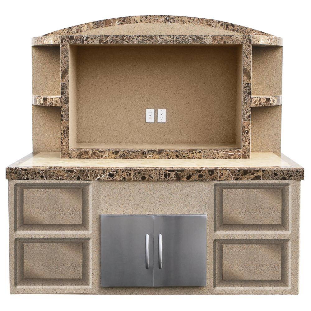 Cal Flame Crystal Stucco and Tile Outdoor Entertainment Center Serving Bar
