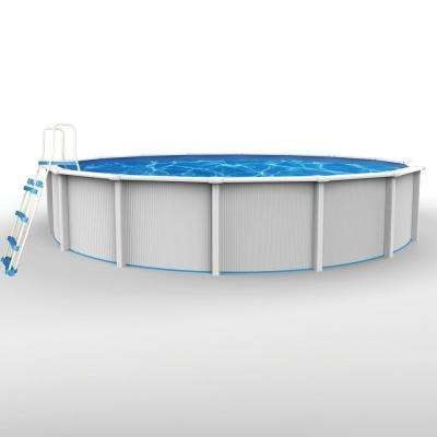 Cambrian 24 ft. Round 52 in. D Hard Side Above Ground Pool Package (Includes Liner, Skimmer, Sand Pump/Filter, Ladder)