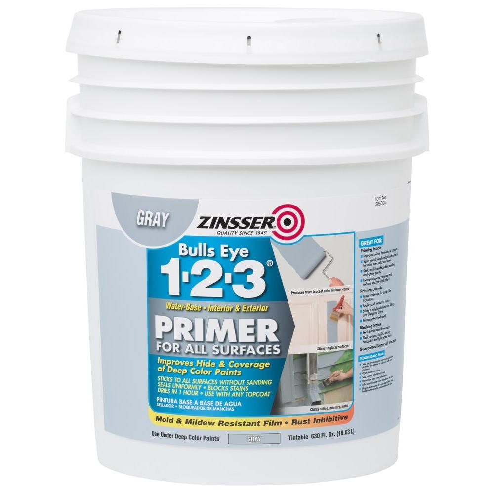 Zinsser bulls eye 1 2 3 630 oz water based interior exterior gray primer and sealer 285090 - Exterior sealant paint decor ...