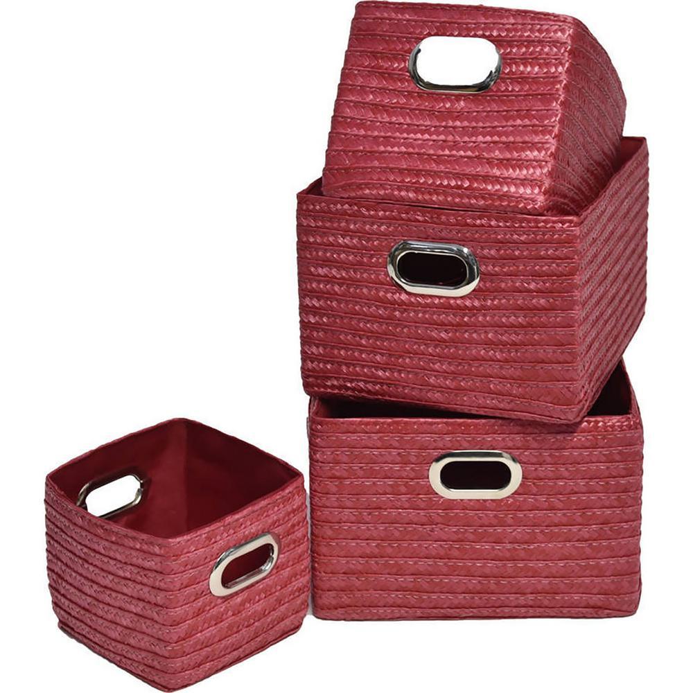 9 in. L x 8.12 in. W x 6 in. H Rectangular Utilities Shelf Baskets Storage with Handles Set Red (4-Piece)