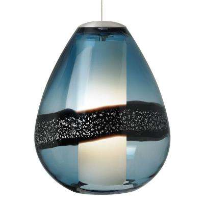 Miyu 1-Light Satin Nickel Steel Blue Incandescent Hanging Pendant