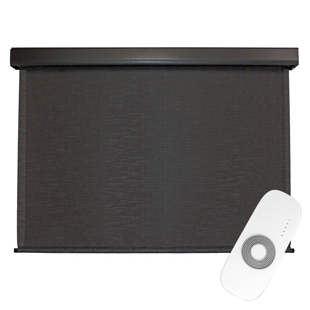 SeaSun Siesta Cordless UV Blocking Motorized PVC Premium Exterior Roller Shade 120 in. W x 96 in. L