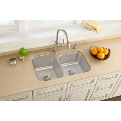 Avenue Undermount Stainless Steel 32 in. Offset Double Bowl Kitchen Sink