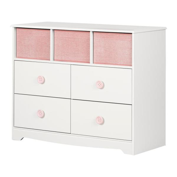 South Shore Sweet Piggy 4 Drawer White And Pink Dresser