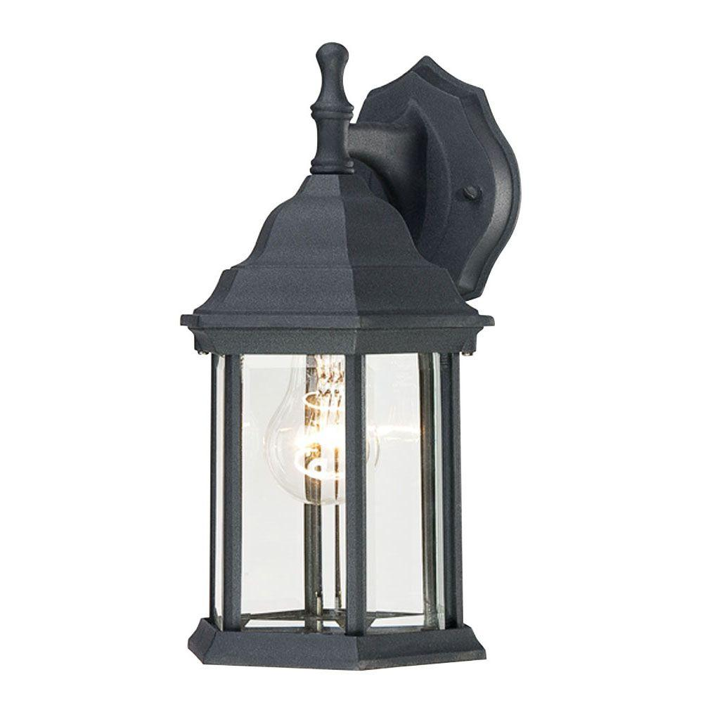 1-Light Textured Black on Cast Aluminum Exterior Wall Lantern with Clear