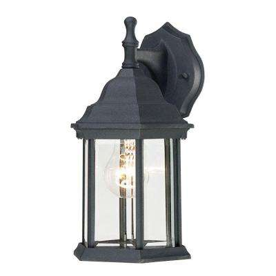 1-Light Textured Black on Cast Aluminum Exterior Wall Lantern with Clear Beveled Glass Panels