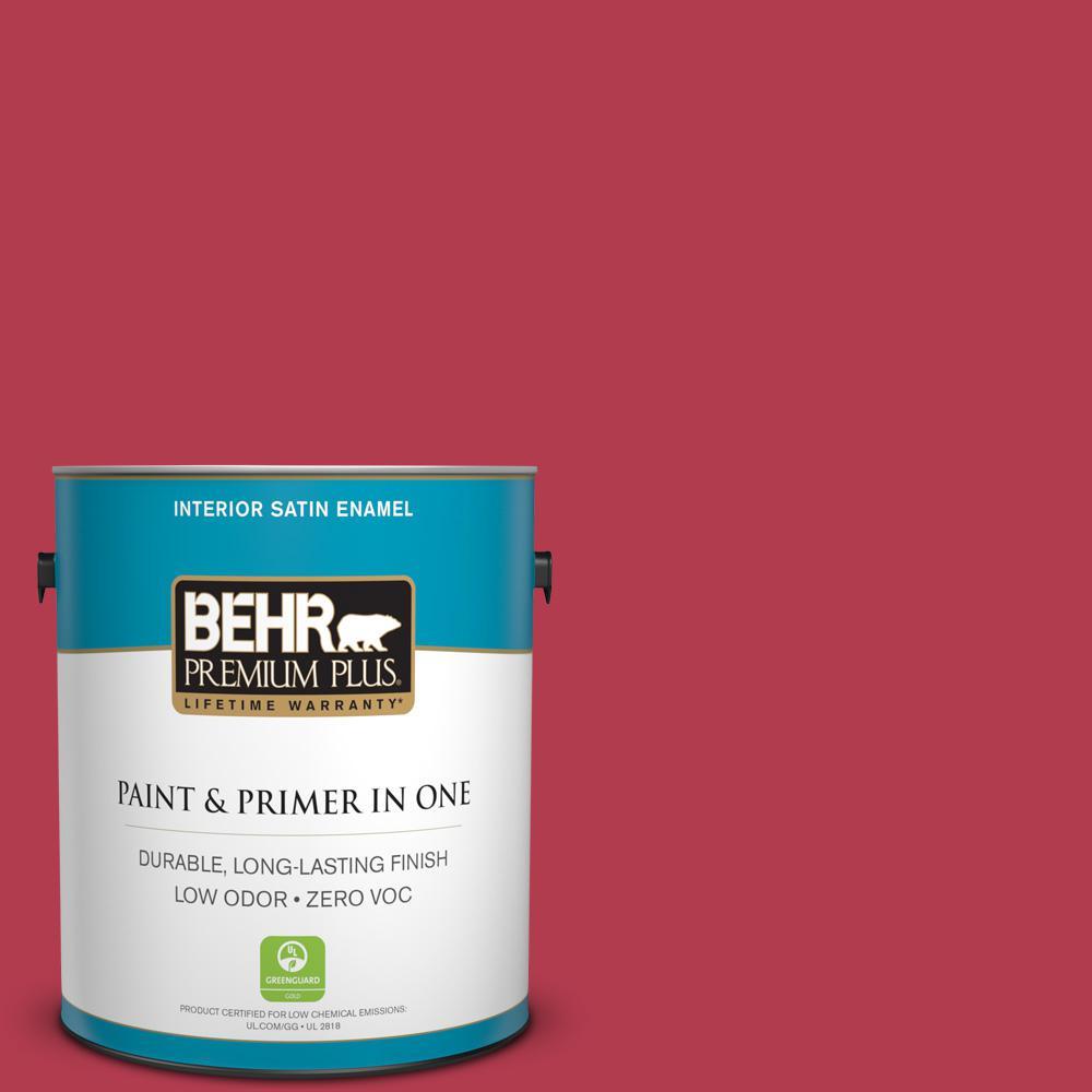 1-gal. #HDC-SM14-10 Intrigue Red Zero VOC Satin Enamel Interior Paint